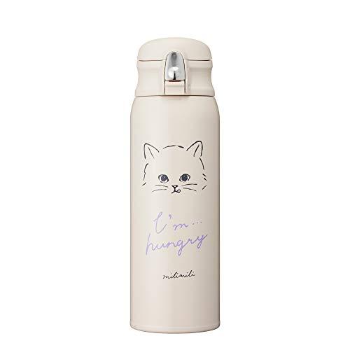 ドウシシャ 水筒 真空断熱 480ml ワンタッチボトル 軽量 ミリミリ 猫 ブラウン MMFO480CT