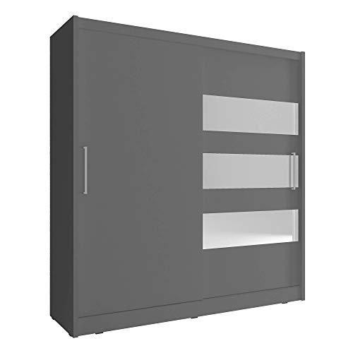 MAYA 3 - Armario para dormitorio con espejo horizontal y puertas de corredera, de color blanco y madera de roble clara con riel para colgar, de 180 cm o 200 cm de ancho