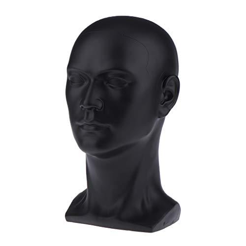 T TOOYFUL Hochwertig Schaufensterpuppen-Kopf, männlich, Schwarz, glänzend, für Kopfhörer, Hüte, Perücken, Schmuck - Hellgrau