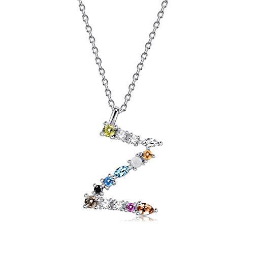 qwertyuio Collares para Mujer Collar De Plata Esterlina 925 para Mujer Oro Letra M Colgante Inicial F 26 Alfabeto Collares Ópalos Zirconia Svn472-Za