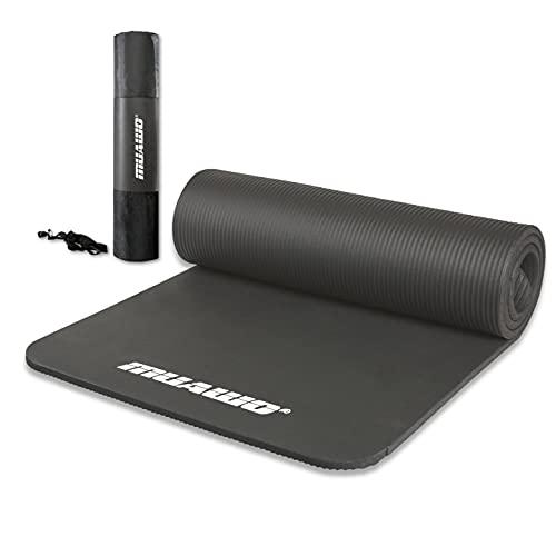 Premium Sportmatte und Fitnessmatte, perfekt als Yogamatte, Gymnastikmatte, Trainingsmatte - rutschfest, Extra-dick, Extra-lang - yoga matte - 190 Länge x100 Breite x1,5 cm dicke - Grau