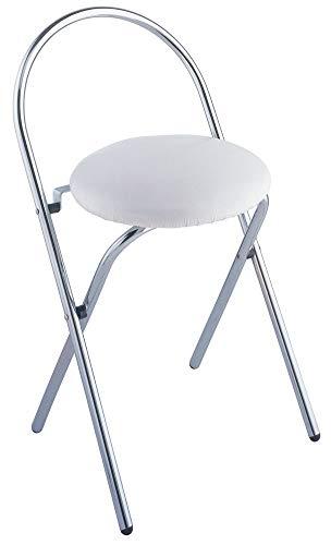 WENKO Hocker Salerno - klappbar, Soft-Sitz, Lehne, Kunststoff, 43 x 63 x 38 cm, Weiß