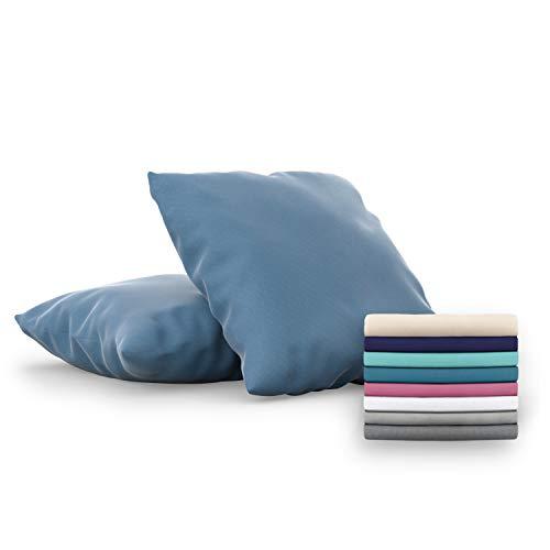 Dreamzie - Set de 2 x Funda de Almohada 65x65 cm, Azúl, Microfibra (100% Poliéster) - Fundas de Almohadas Hipoalergénica - Fundas de Cojines de Calidad con una Suavidad Incomparable
