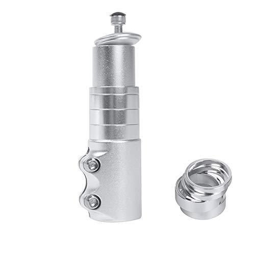 MTB Vástago Elevador de Manillar para Bicicleta, Elevador de Manillar de Bicicleta, para Horquilla 1-1/8' 28.6mm, Adaptador de Extensor de Manillar de Aleación de Aluminio, Plata
