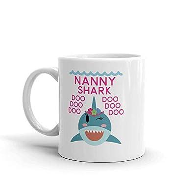 """Shark Nanny"" Unique Ceramic Coffee Mug/Cup (11 oz.) — Birthday Mother's Day Christmas Gift For Mom Mother Grandma"