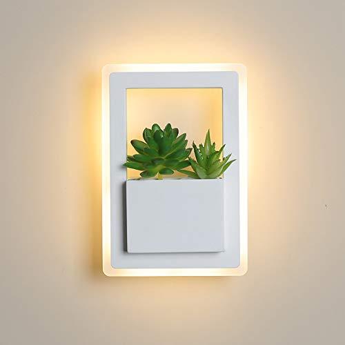 Moderne led-wandlamp, rechthoekig, 220 x 150 mm, 11 W, moderne led-nachtwandlamp, wit met planten, wandlampen voor slaapkamer, woonkamer, wandlamp