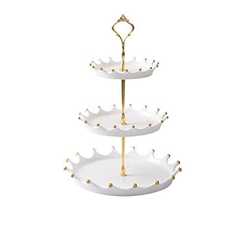 Torta de cerámica nórdica soporte sala de estar placa de fruta creativa postre de tres capas Pastelería Tiempo dulce para la fiesta de té de la tarde