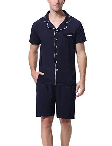 Aibrou Herren Baumwolle Pyjama Set, Einfarbiger Zweiteiliger Schlafanzug Kurzarm Shirt und Pyjamahose Marineblau XL