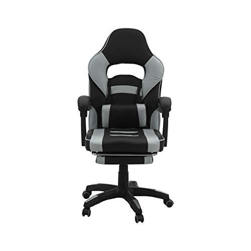 Queiting Gamingstuhl Racing Chair Computerspiel Chair Sportsitz Drehstuhl mit Fußstütze für Gamer Racing Style Verstellbarer Computerstuhl für Erwachsene Grau