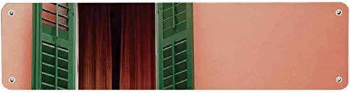 Rolluiken Decor Novelty Tin Sign, Mediterrane Stijl Afbeelding van Raam en Rolluiken Oude Huis Rurals Home Deco voor Cafes 40x10 cm Kennisbord voor Indoor Outdoor Yard Street Tekenen