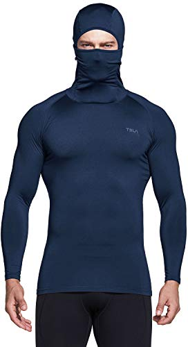 TSLA Men's Hoodie Mask Thermal Compression Baselayer Top Cool Dry Active Running, Heatlock Hoodie(yuh58) - Navy, Medium