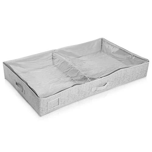 Navaris Unterbettkommode Stoff 91x50x14cm - Unterbett Aufbewahrung mit Sichtfenster groß flach - Bett Aufbewahrungsbox aus Polyestervlies in Grau