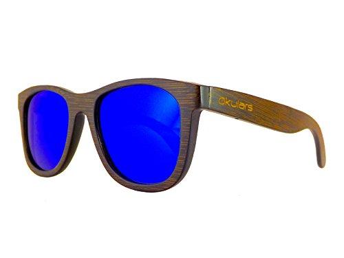 Okulars® Dark Bamboo - Occhiali da Sole in Legno di Bambù Naturale Uomo e Donna, Fatti a Mano - Taglia Unica - Lenti Polarizzate - Protezione UV400 - Cat.3 (Blu)