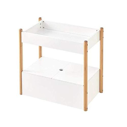 LULUDP Kabellose Aufbewahrungsbox Fahrbares Regal Mehrschichtig Bücherregal Prallblütenstand Stauraum auf Wohnzimmerboden mit Roll USB-Hub