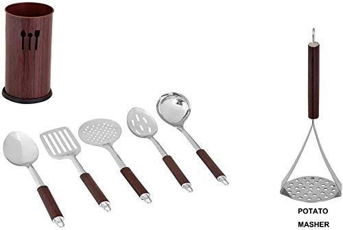 """Kosma - Juego de herramientas de cocina de acero inoxidable con soporte para herramientas y triturador de patatas """"gratis"""", juego de cocina con utensilios de cocina, color madera de teca"""