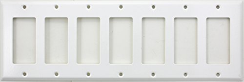 Stamped Steel Smooth White 7 Gang Wall Plate - 7 GFI/Rocker Opening