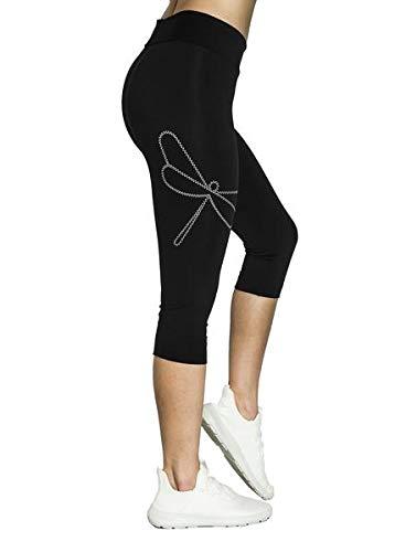 Lindissims Legging Eco-Sostenible Capri Dragon Fly Mallas Deporte, Pantalones Deportivos, Cintura Alta, Yoga, Running, Fitness…