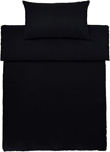 Amazon Basics Mikrofaser-Bettwäsche-Set, Schwarz, 135 cm x 200 cm / 50 cm x 80 cm x 1
