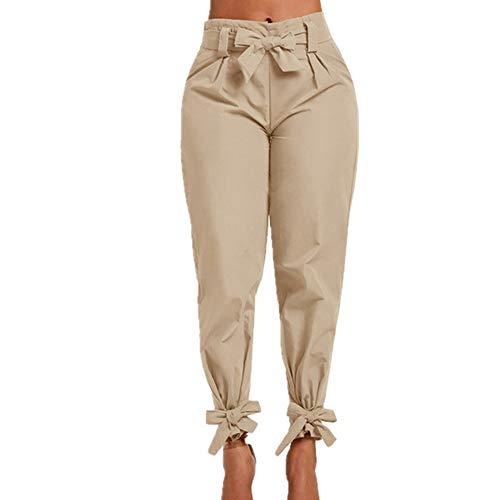N\P Mujer Pantalones Color Sólido Cinturón Alto Bolsillo Primavera Mujer Pantalones de Mujer Cintura