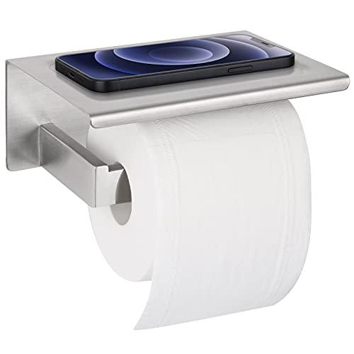 Toilettenpapierhalter Ohne Bohren mit Ablage, synmixx Klopapierhalter Selbstklebend SUS304 Edelstahl WC Rollenhalter Wandhalterung Klorollenhalter für Küche Badzimmer (Silber)