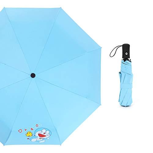 Paraguas Paraguas automático Oso marrón Paraguas Paraguas de Dibujos Animados Paraguas de Sol Mini Paraguas Plegable Paraguas Negro pequeño Paraguas publicitario (Color : Blue)
