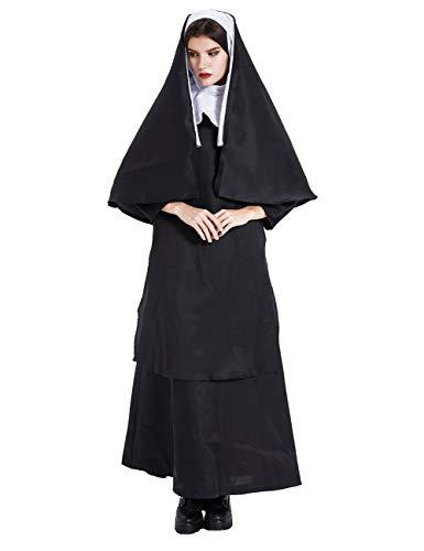 EZSTAX Nonne Kostüm Damen Robe Maria Verkleidung Mittelalter Umhang Karneval Fasching Halloween,XL