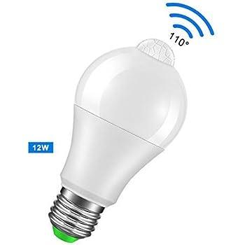 Bombilla Con Sensor de Movimiento 12W, Frontoppy Led E27 Blanco frío 6000K Luz PIR Sensor,Auto encendido/apagado Luces nocturnas para Escaleras, Garaje, Puerta, Porche, Jardín, Patio (Sensor de Pir): Amazon.es: Iluminación