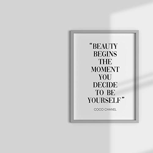Impresión de pared de Beauty Begins Coco Chanel – 15,24 x 20,32 cm, diseño moderno de pared para el hogar – 15,24 x 20,32 cm