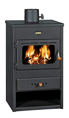 Stufa a Legna in Acciaio 9-13 KW con Vetro Ceramico Ampia vista fuoco Portalegna [Classe di efficienza energetica A]