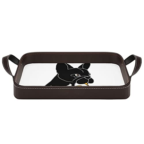 Smiletodaytees French Bulldog Playing French Horn Serving Trays with Handles 13.6x8.9 inch Coffee Table Tray Decorative Tray for Coffee,Breakfast,Dessert