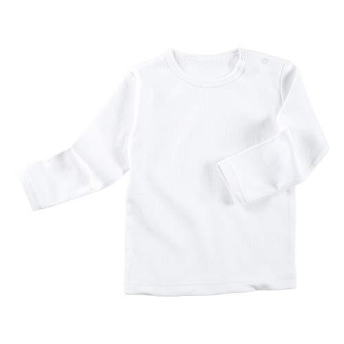 Erwin Müller Baby-Langarmshirt Interlock-Jersey weiß Größe 50/56 - in Bester Qualität, mit praktischem Druckknopfverschluss an der Schulter, 100% Baumwolle (weitere Größen)