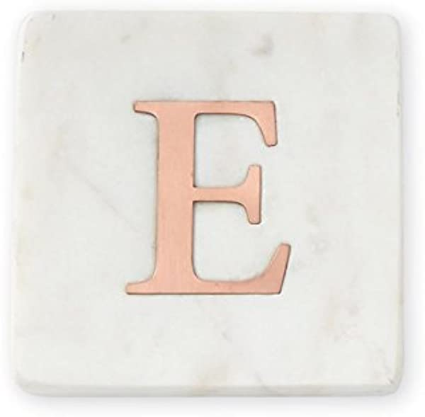 Mud Pie E Initial Marble And Copper Coaster Set