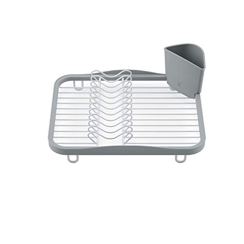 Umbra Sinkin Dish Drying Rack Kitchen Caddy with Removable Cutlery Holder Fits in Sink or on Countertop White/Grey Standard
