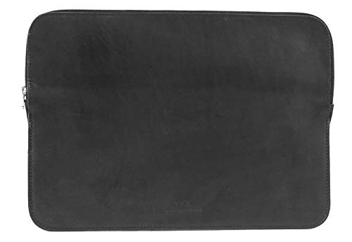 LUKA Premium Laptop Sleeve Leather 16 Inch Black - Laptop Sleeve for MacBook Pro / Air Notebook Ultrabook by ASUS Acer Lenovo HP Dell etc. - Sustainable & Made in Europe
