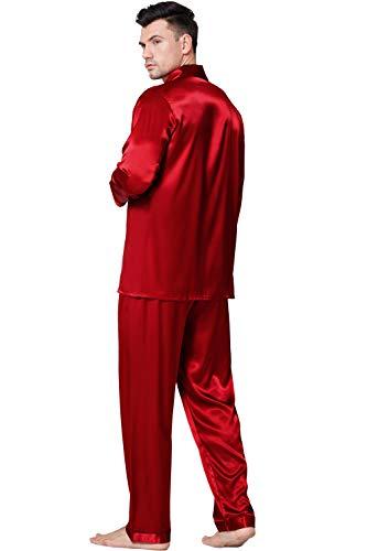 Herren Seide Schlafanzug Pyjama Rot Medium