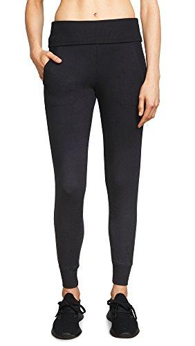 Beyond Yoga Women's Cozy Fleece Foldover Long Sweatpant, Black, Small
