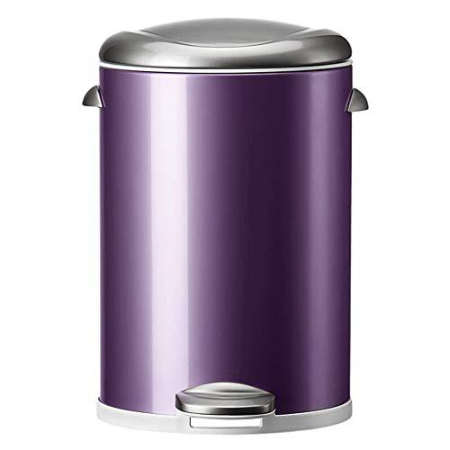BWCGA Redonda pequeña de Metal Paso Bote de Basura papeleras, contenedores de Basura Bin - for Baño, Sala de Polvo, Dormitorio, Cocina, Sala de artesanía, Oficina,