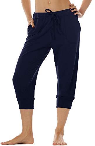 icyzone Damen Hosen 3/4 Sweathose Jogginghose Baggy Casual Pants Sporthose (M, Navy)