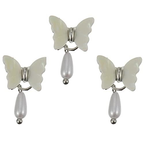 Lurrose 3 Piezas de Clavos de Mariposa Perlas de Concha Joyería de Manicura Colgante de Perlas...