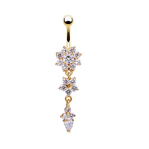 Bestim Incuk Bauchnabel-Piercing, Kristall-Blumen gold