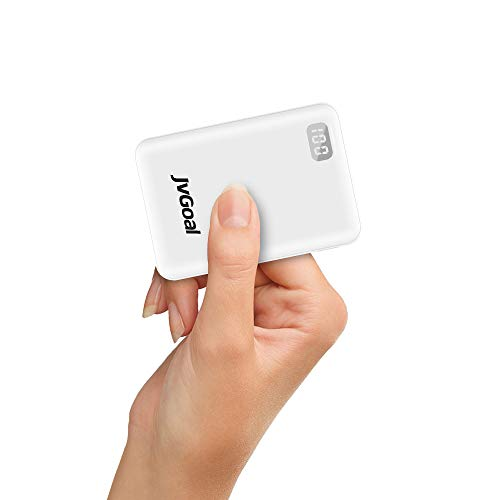 Power Bank 10000mAh, Mini Caricabatterie Portatile Batteria Esterna Portatile con 2 Ingressi e 2 uscite da 5V 2.4A per iPhone Samsung Galaxy Huawei Smartphone (Bianca)
