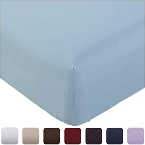 Mellanni Fitted Sheet Queen Blue-Hydrangea - Brushed Microfiber 1800 Bedding - Wrinkle, Fade, Stain Resistant - Deep Pocket - 1 Single Fitted Sheet Only (Queen, Blue Hydrangea)