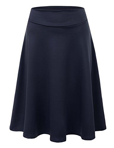 Doublju Womens High Waist Midi A-Line Skirt Navy Small