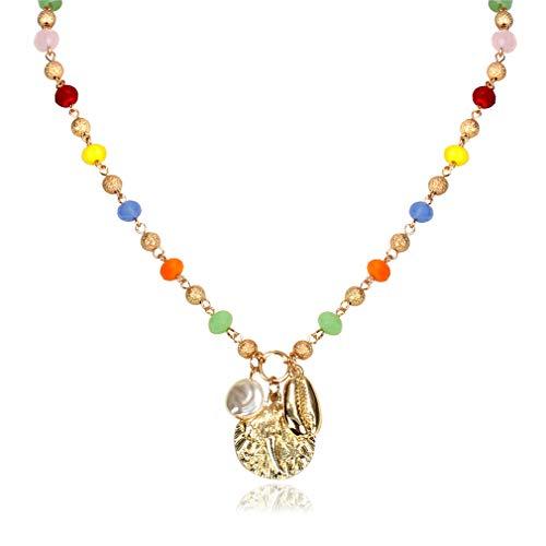 YAZILIND Colgante Simple Collar Retro Estilo étnico Hecho a Mano Cadena con Cuentas Collares señoras Regalo de joyería(Color2)