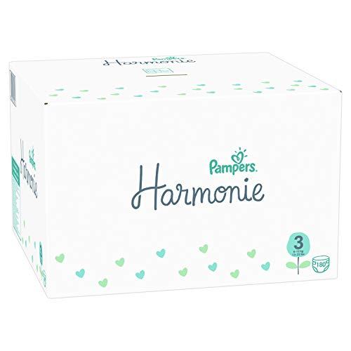Pampers Armonía tamaño 3, 6-10 kg, caja mensual (180 pañales), protección suave de la piel e ingredientes vegetales.