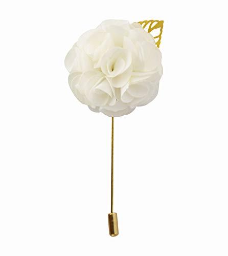 Knighthood Flor de manojo blanco con hoja dorada solapa Pin insignia abrigo...