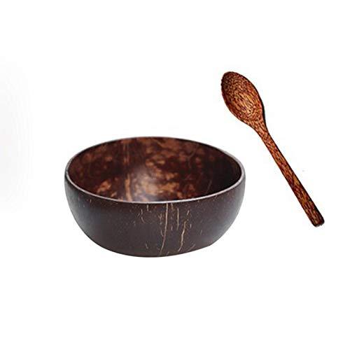 Kokosnuss Schale Natural Vegan Coconut Bowl Smoothie Breakfast Porridge Bowls Mit Holzlöffel + Halteringen| Für | Mit Kokosöl Poliert