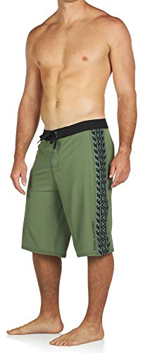 Maui Rippers Very Long Board Short 4 Way Stretch 24 Inch Outseam (Tribal Olive, 34)