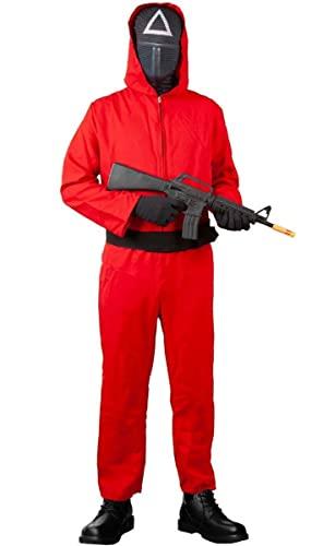 Disfraz Juego del Calamar de la Serie , para Hombre y Mujer , compuesto Mono Rojo Mascara Triangulo Cinturon y Guantes para Hallowen (talla unica cuadrado)