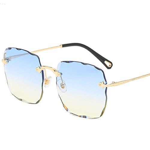Occhiali da sole da donna Trend Occhiali da sole Summer Sunscreen Occhiali da sole Wavy Diamond-Cut Occhiali da sole anti-UV Occhiali da sole-Su blu giù giallo